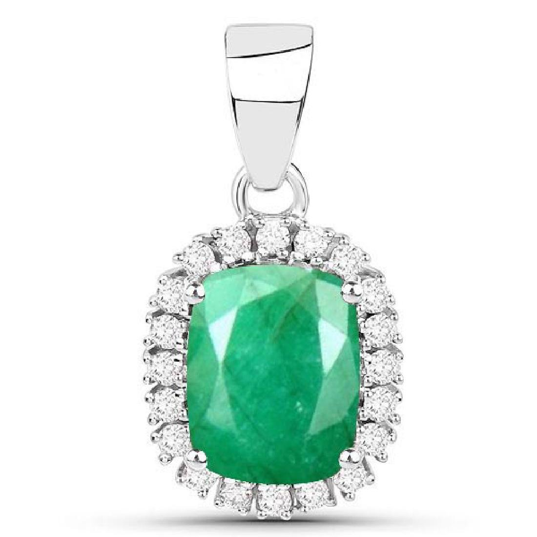 Certified 1.70 CTW Genuine Emerald And Diamond 14K Whit