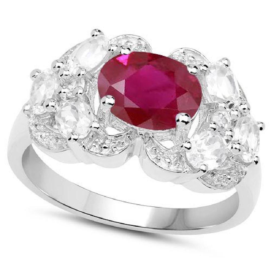 Certified 1.10 Ctw. Genuine Ruby And Diamond 14K White