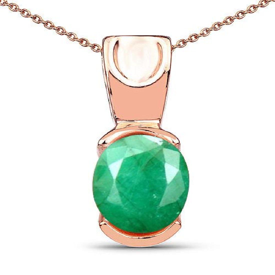 Certified 1.30 CTW Genuine Emerald 14K Rose Gold Pendan