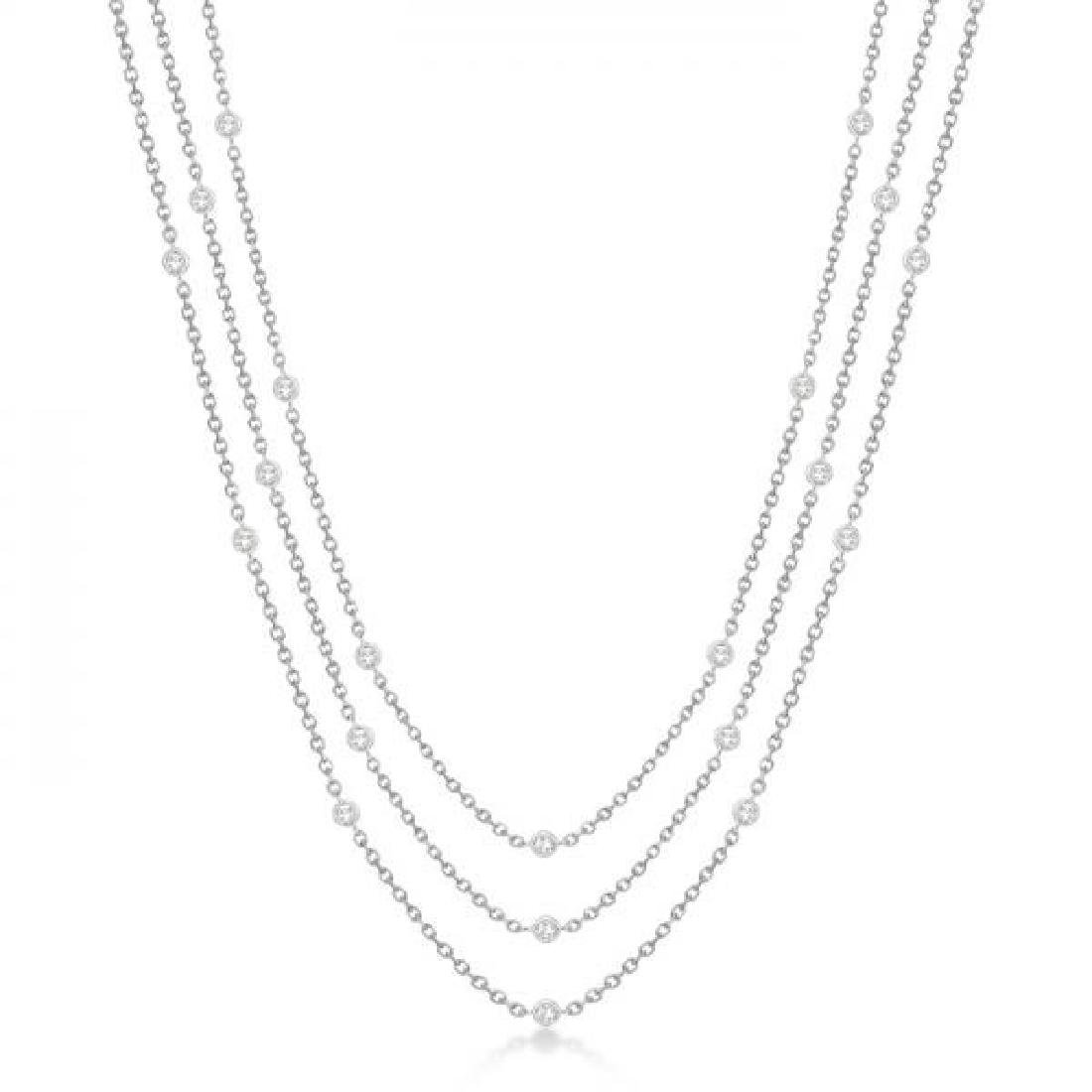 Three-Strand Diamond Station Necklace in 14k White Gold