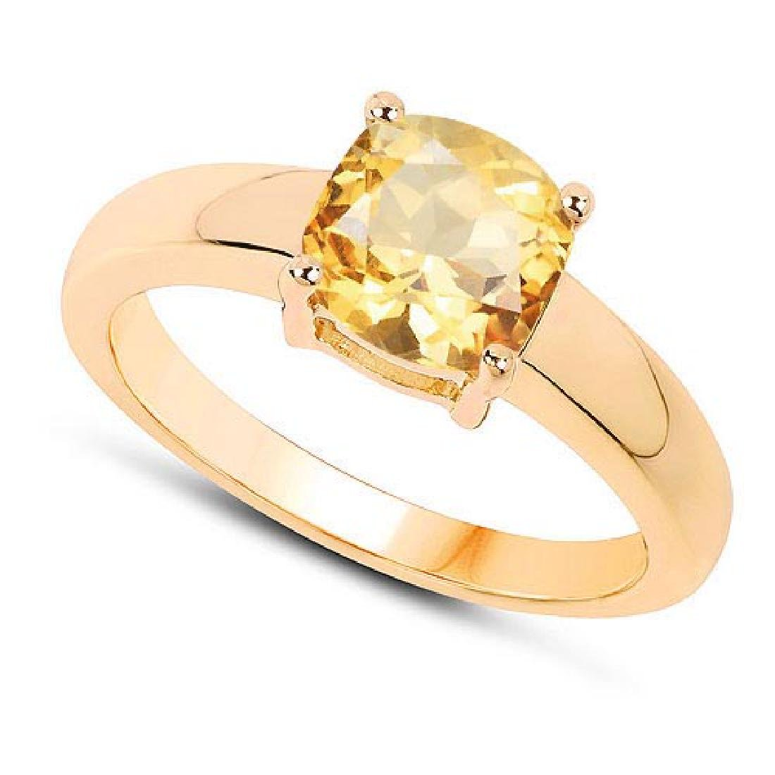 Certified 1.50 CTW Genuine Citrine And 14K Yellow Gold