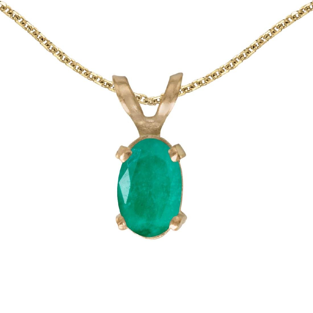 Certified 14k Yellow Gold Oval Emerald Pendant 0.31 CTW