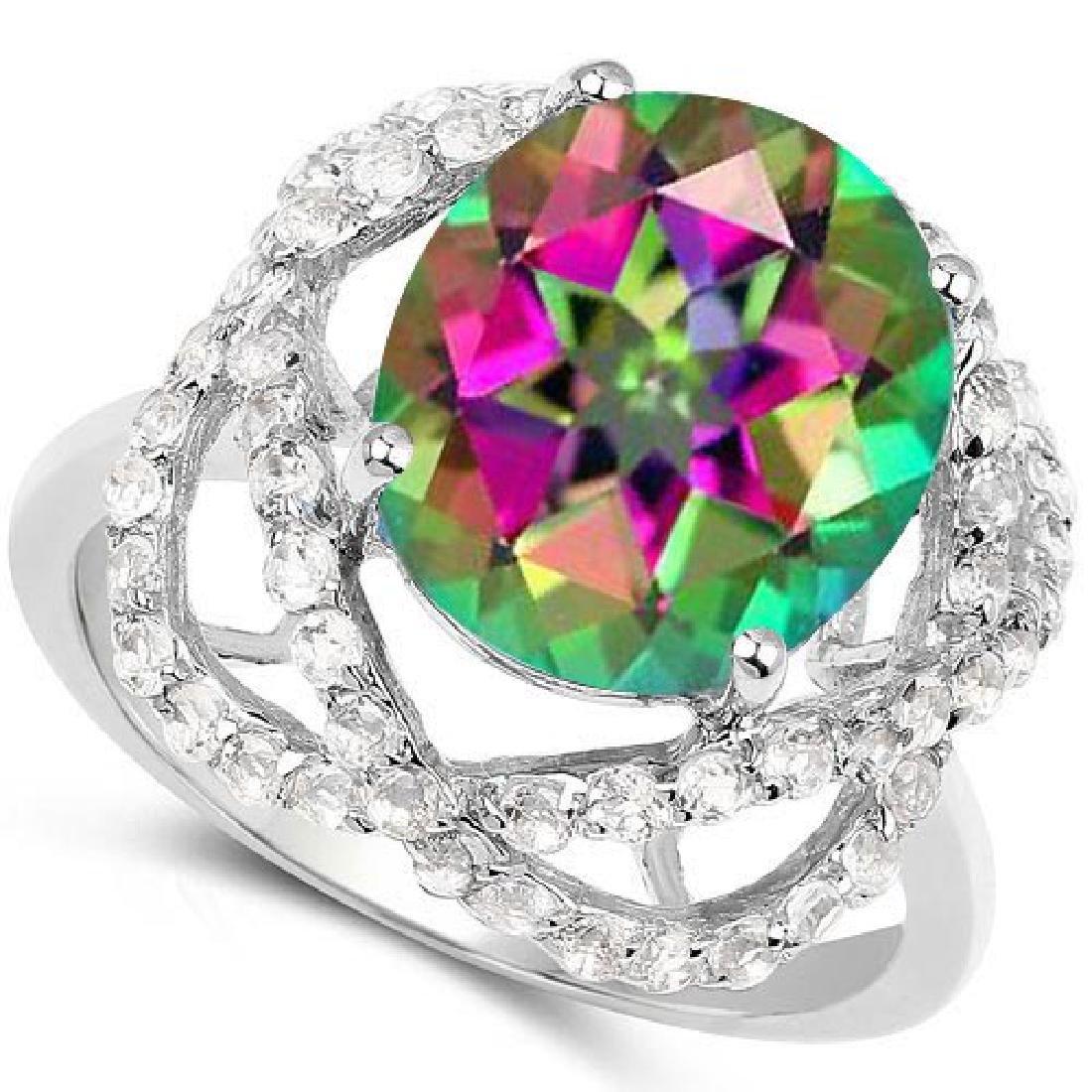 Certified 1.90 Ctw. Genuine Mystic Topaz And Diamond 14