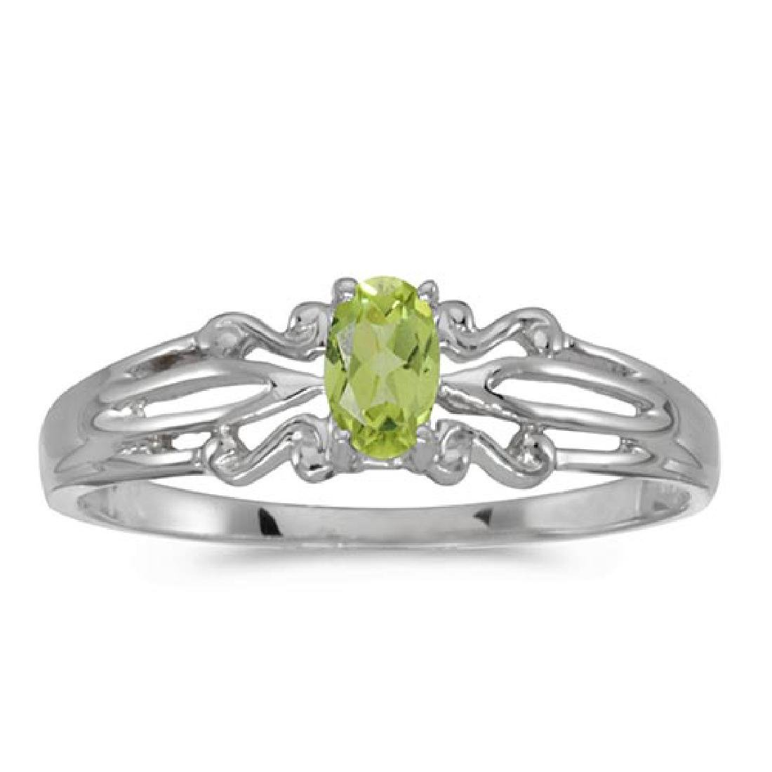 Certified 14k White Gold Oval Peridot Ring