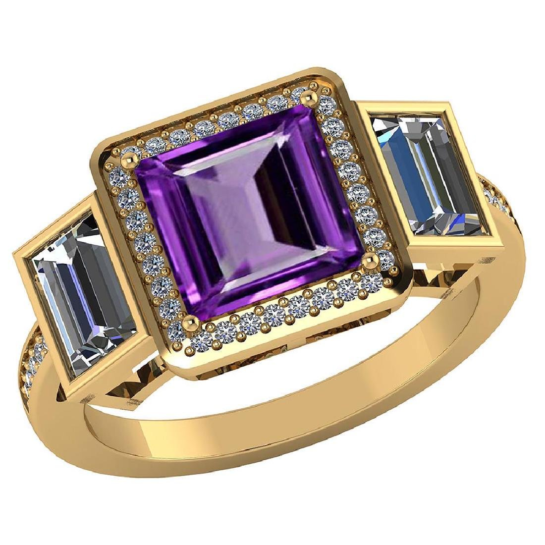 Certified 2.55 CTW Genuine Amethyst And Diamond 14K Yel
