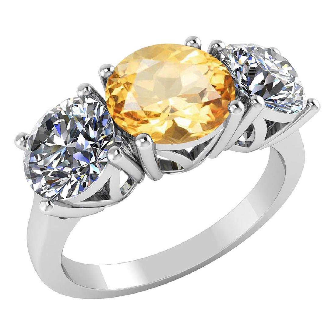 Certified 1.80 CTW Genuine Citrine And Diamond 14K Whit