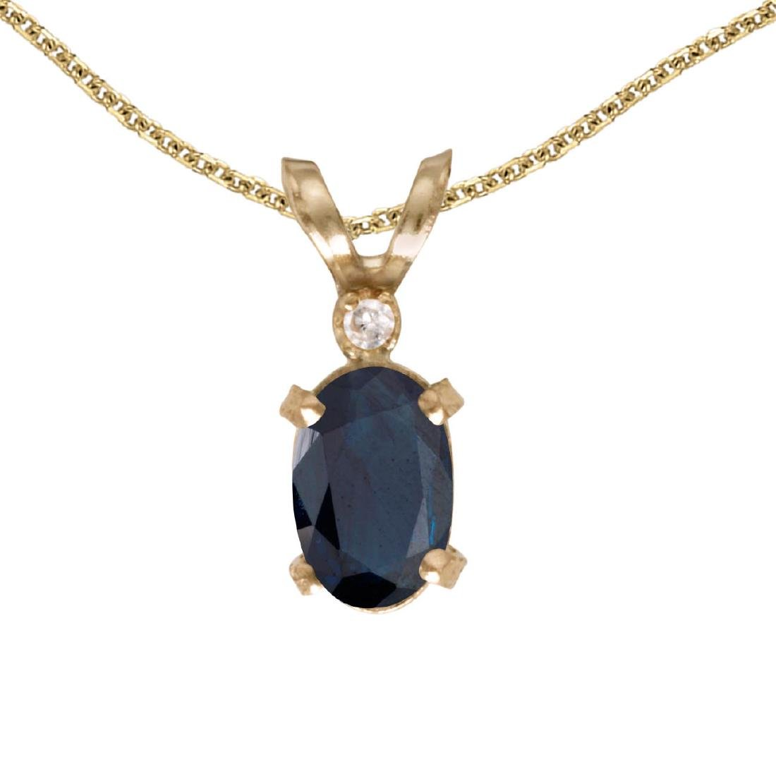 Certified 14k Yellow Gold Oval Sapphire And Diamond Fil