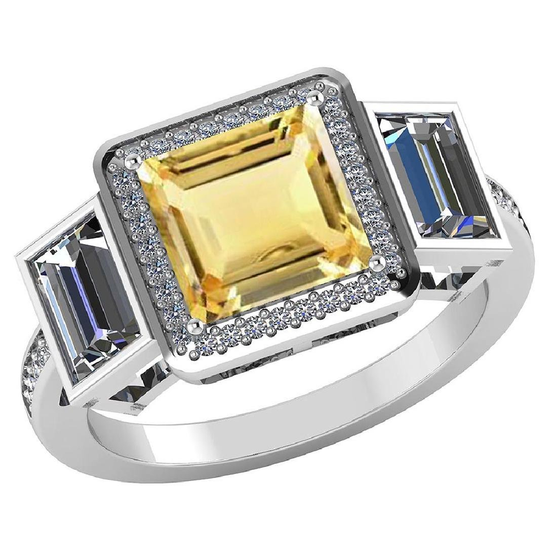 Certified 2.45 CTW Genuine Citrine And Diamond 14K Whit
