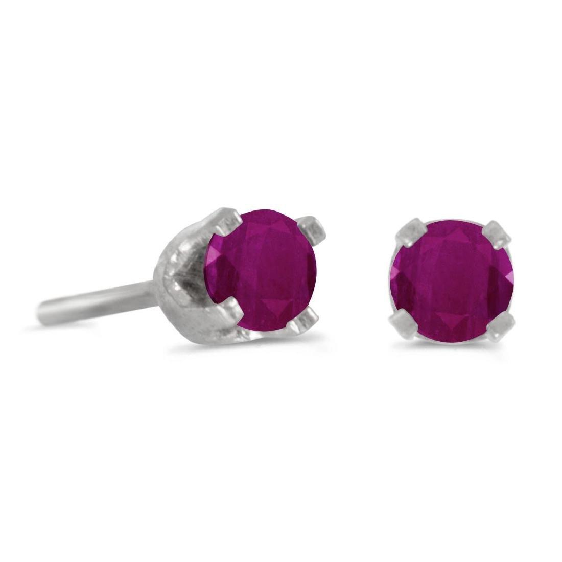 Certified 3 mm Petite Round Genuine Ruby Stud Earrings