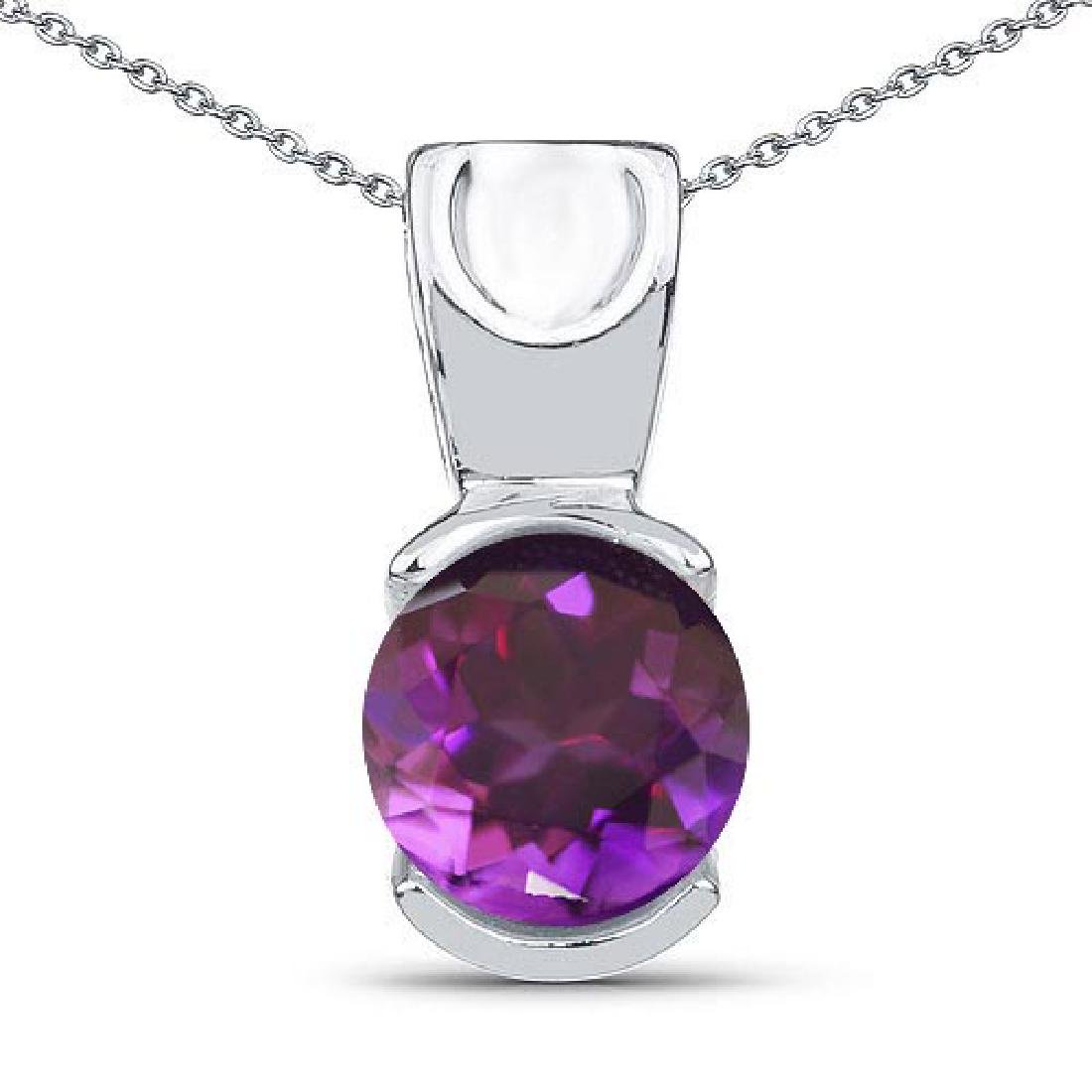 Certified 1.20 CTW Genuine Amethyst 14k White Gold Pend