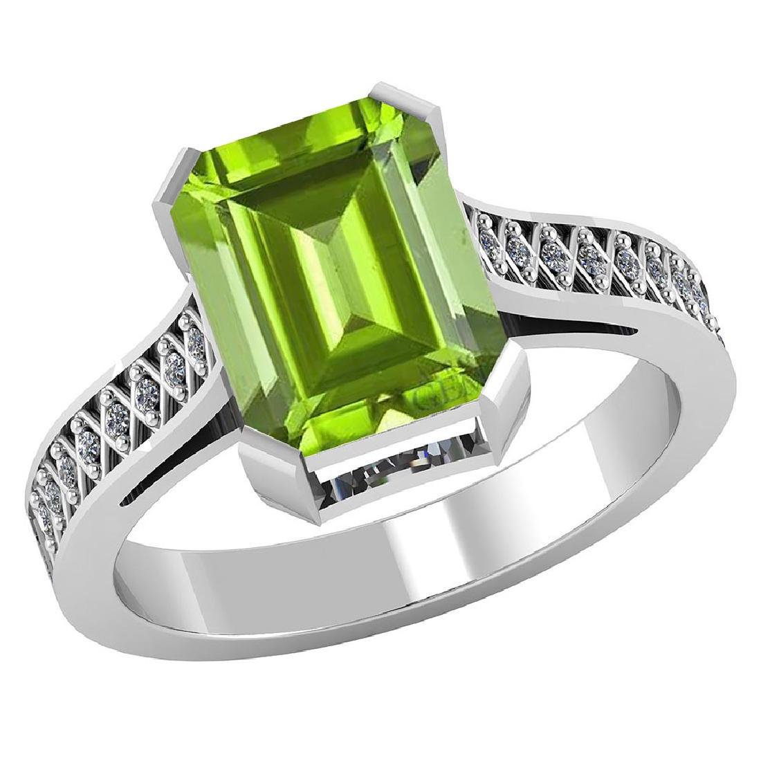 Certified 2.75 CTW Genuine Peridot And Diamond 14K Whit