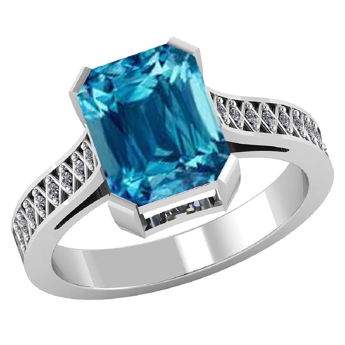 Certified 2.95 CTW Genuine Blue Topaz And Diamond 14K W