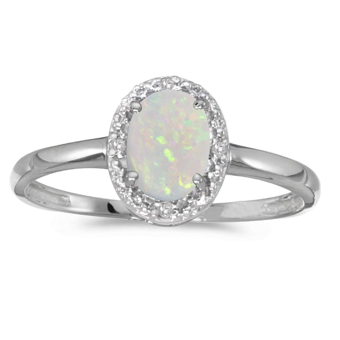 Certified 14k White Gold Oval Opal And Diamond Ring 0.2