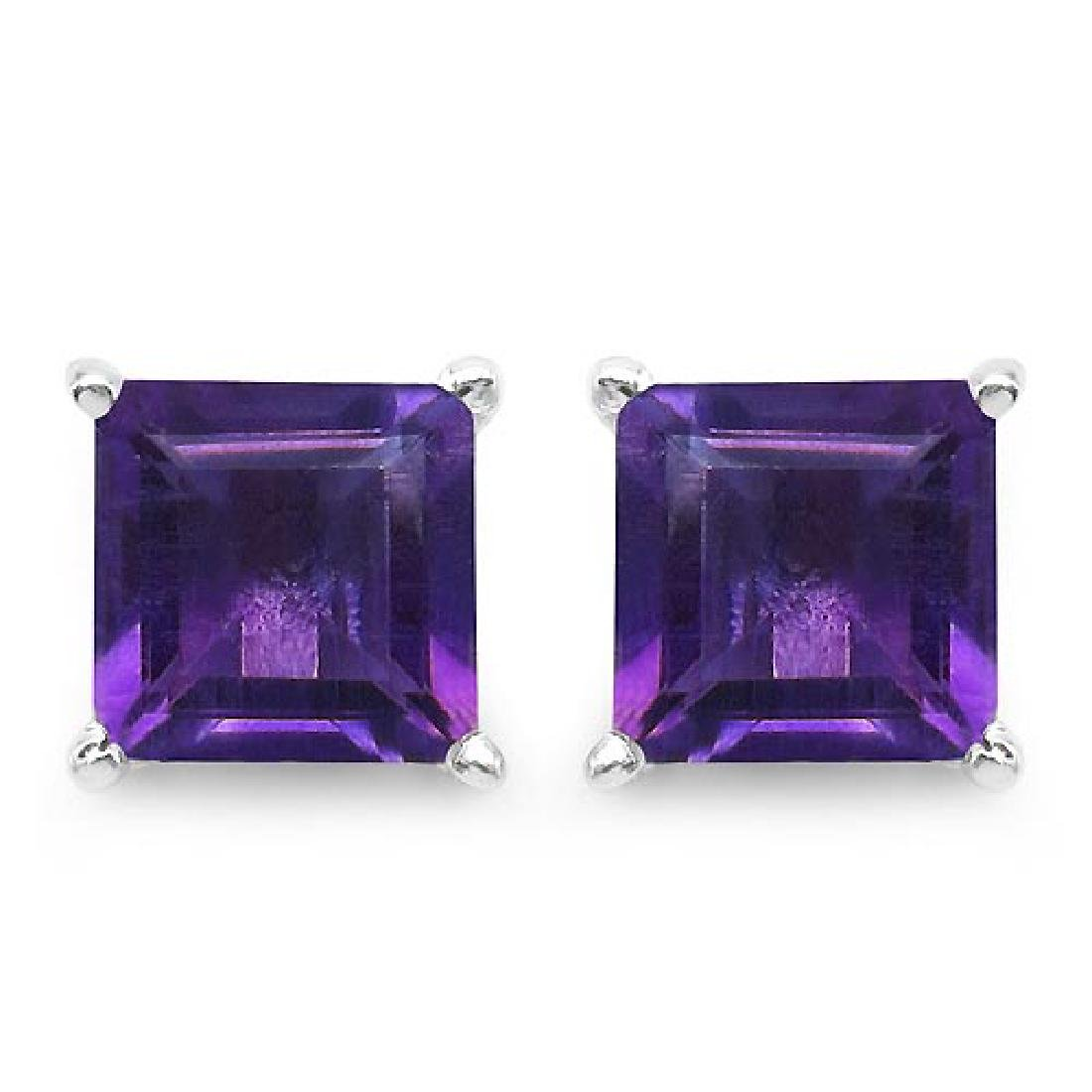 Certified 2.50 CTW Genuine Amethyst And 14K White Gold