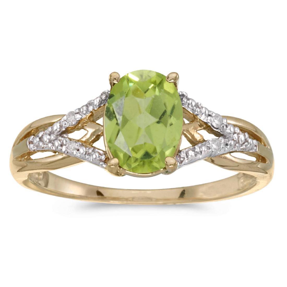 Certified 10k Yellow Gold Oval Peridot And Diamond Ring