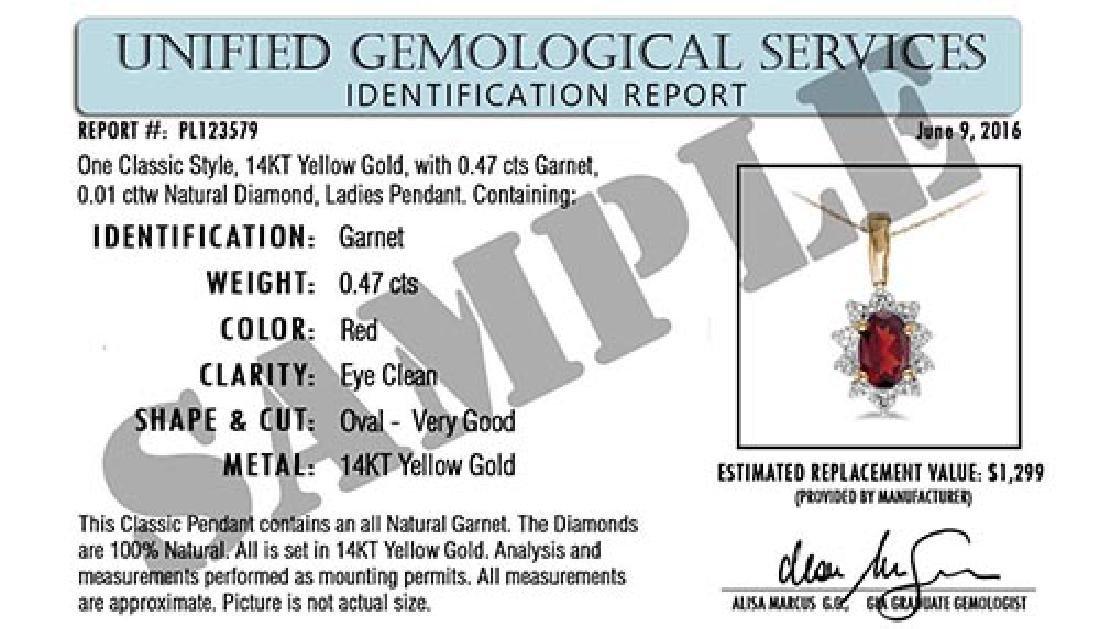 Certified 1.50 CTW Genuine Garnet 14K Yellow Gold Penda - 2