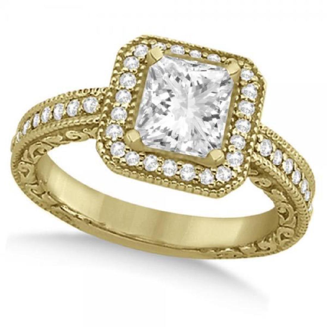 Milgrain Halo Princess Diamond Engagement Ring 14k Yell