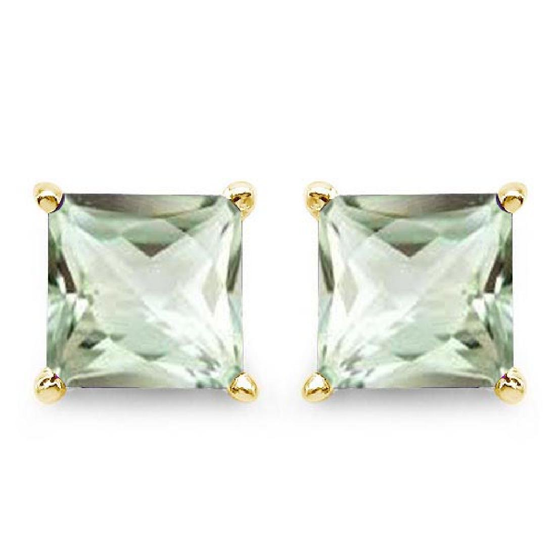 Certified 2.50 CTW Genuine Green Amethyst And 14K Yello