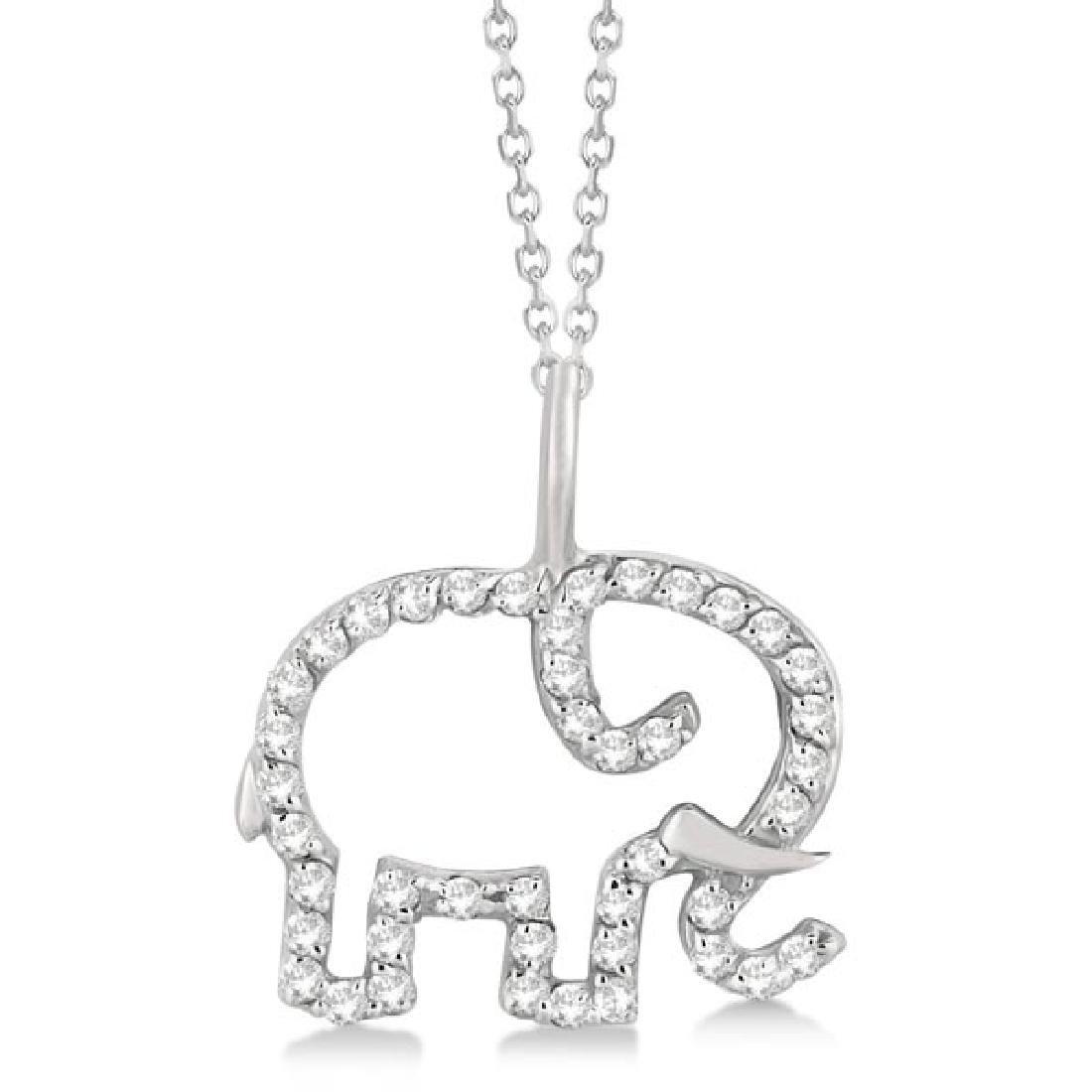 Elephant Diamond Necklace Pave-Set 14K White Gold (0.22