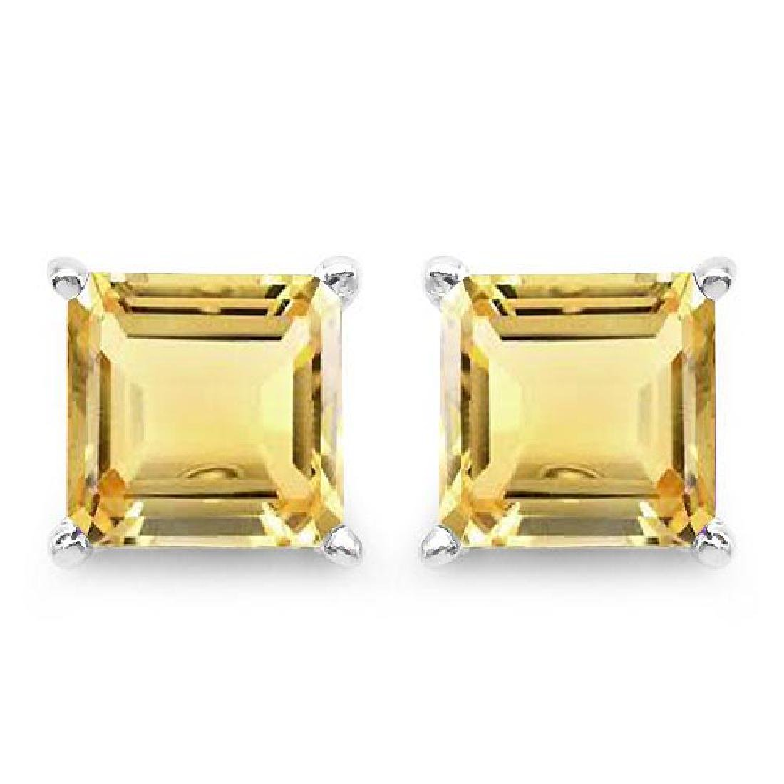 Certified 2.50 CTW Genuine Citrine And 14K White Gold E