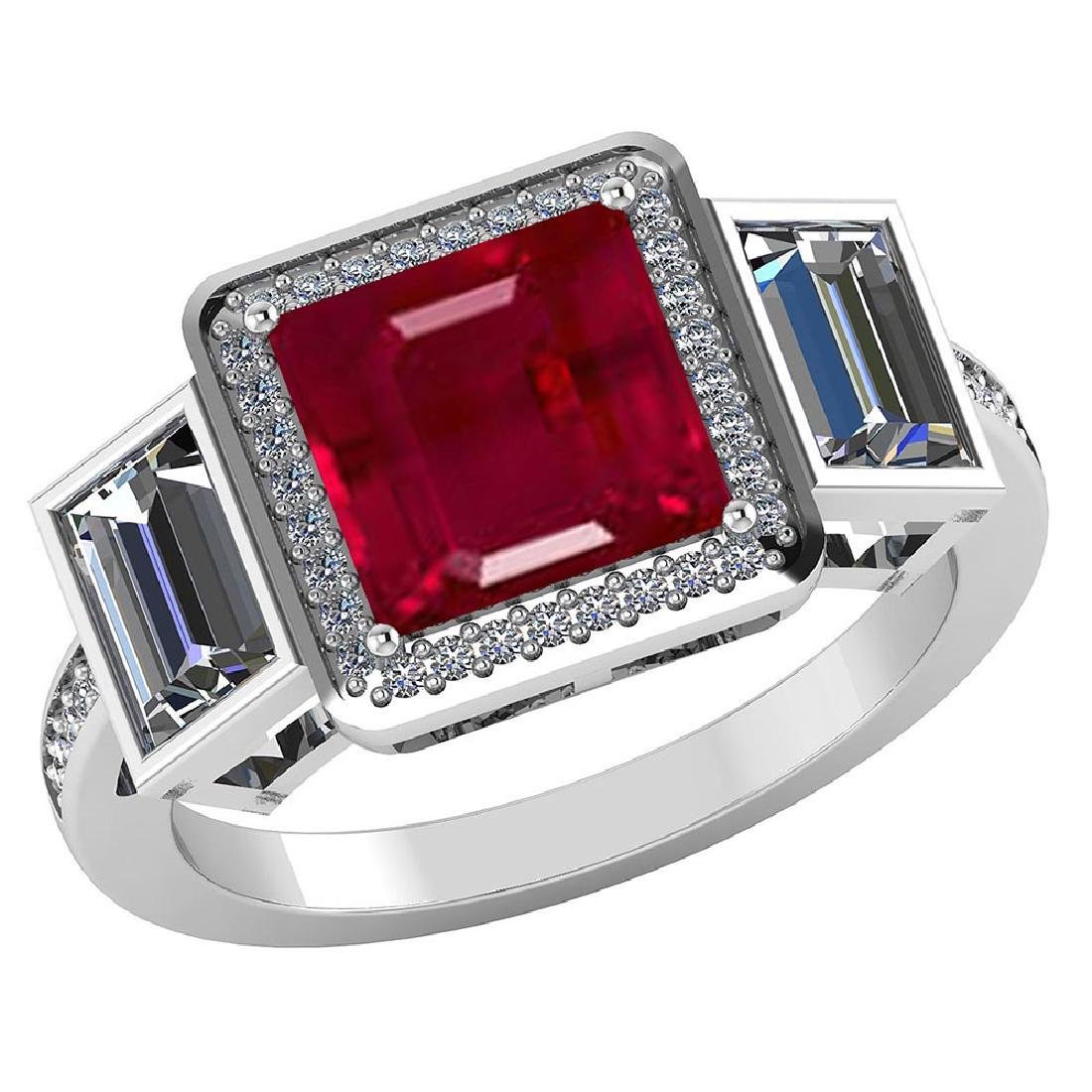 Certified 2.25 CTW Genuine Ruby And Diamond 14K White G