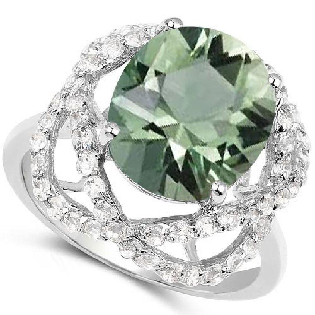 Certified 1.60 Ctw. Genuine Green Amethyst And Diamond