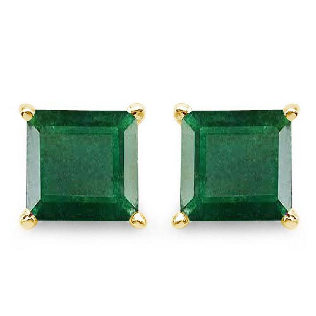 Certified 2.50 CTW Genuine Emerald And 14K Yellow Gold