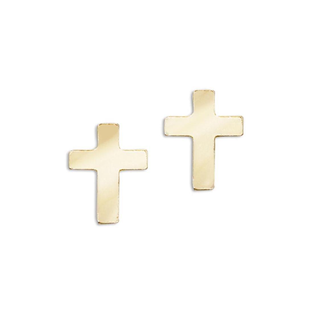 Certified 14K Yellow Gold Baby Cross Screwback Earrings
