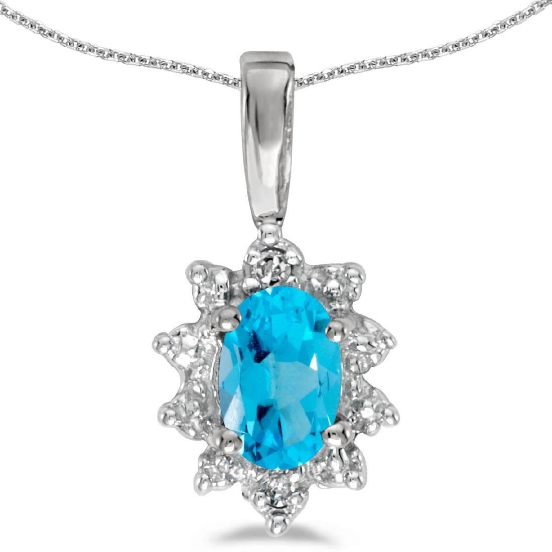 Certified 14k White Gold Oval Blue Topaz And Diamond Pe