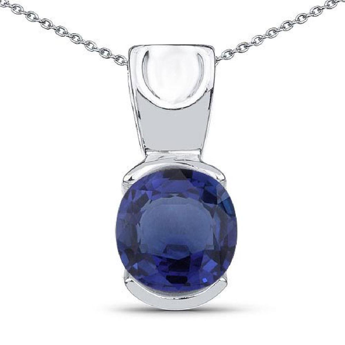 Certified 1.40 CTW Genuine Bule Sapphire 14K White Gold
