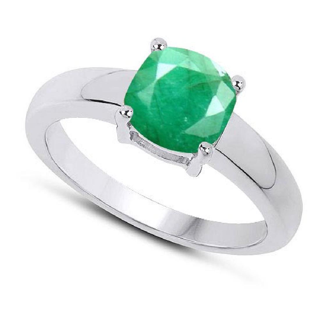 Certified 1.50 CTW Genuine Emerald And 14K White Gold R
