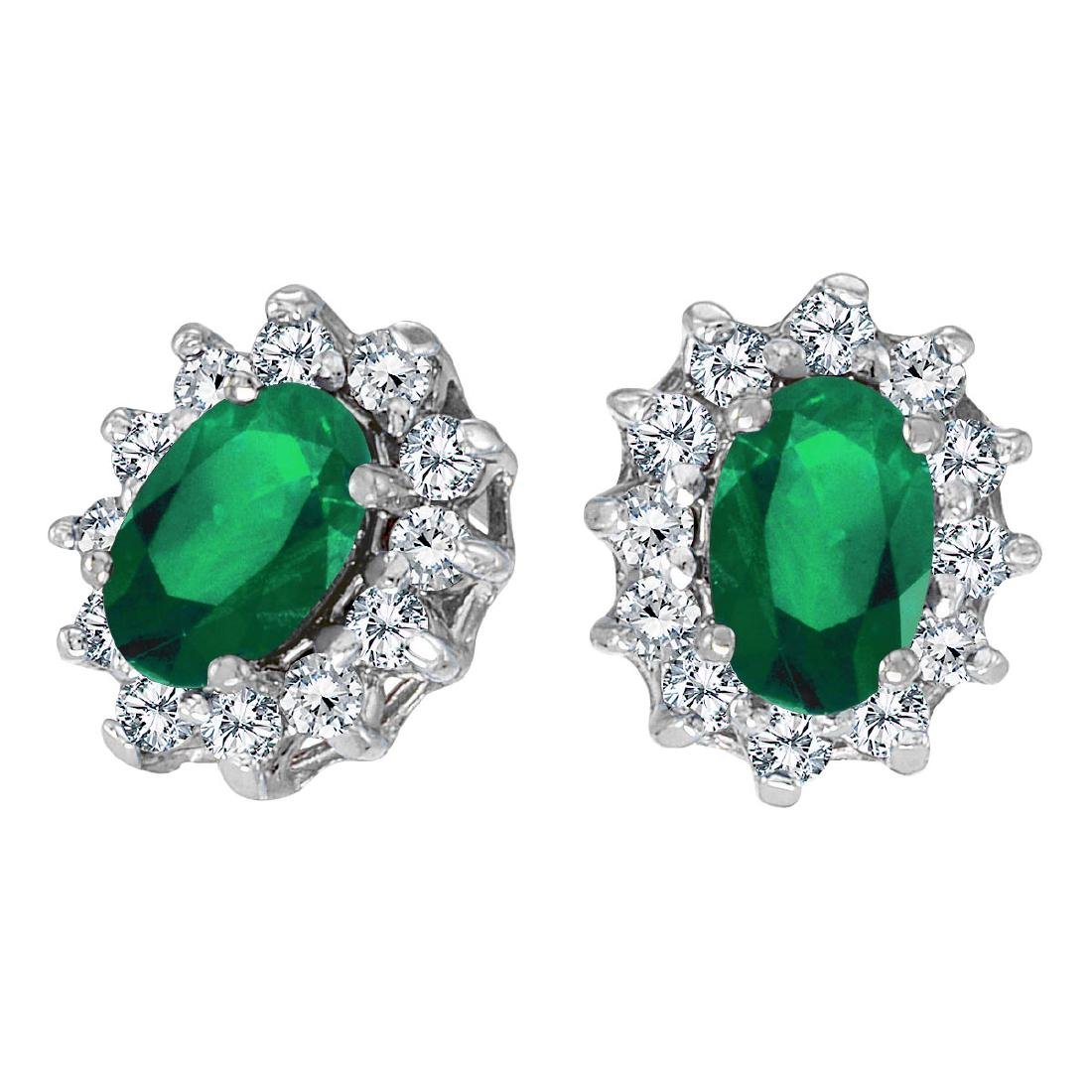Certified 14k White Gold Oval Emerald and .25 total CTW