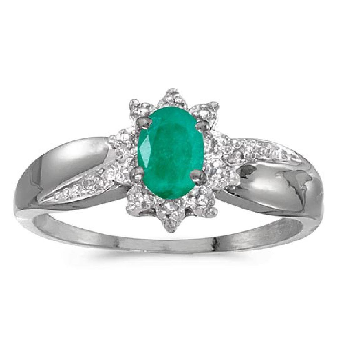 Certified 14k White Gold Oval Emerald And Diamond Ring