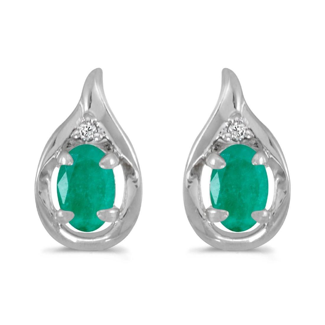Certified 14k White Gold Oval Emerald And Diamond Earri