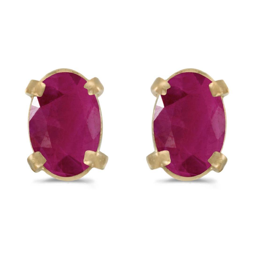Certified 14k Yellow Gold Oval Ruby Earrings 0.72 CTW