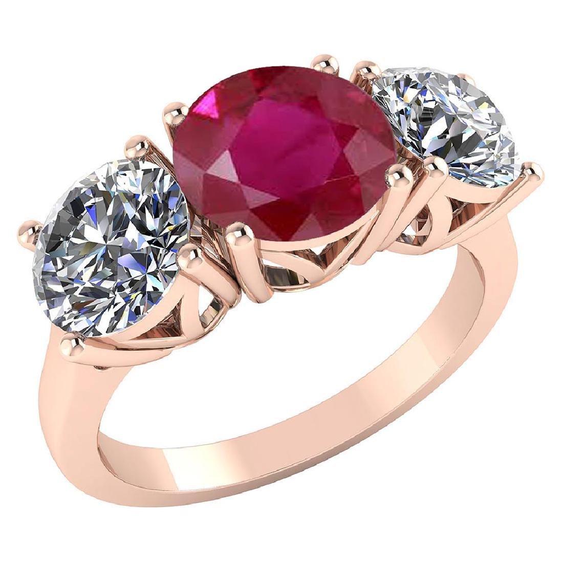 Certified 1.60 CTW Genuine Ruby And Diamond 14K Rose Go