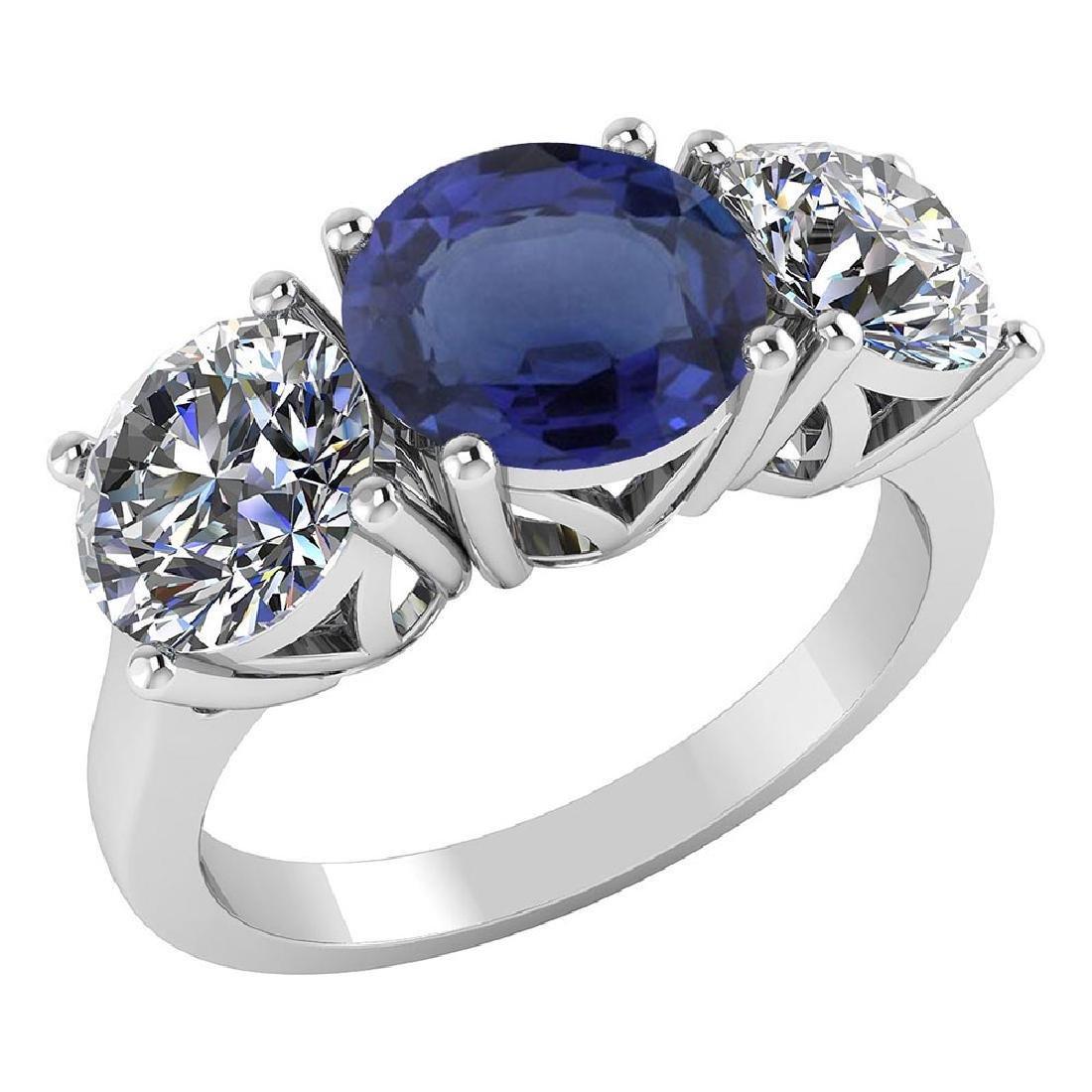Certified 1.25 CTW Genuine Blue Sapphire And Diamond 14