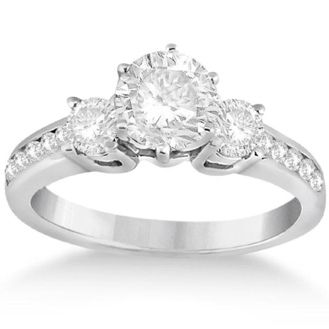 Three-Stone Diamond Engagement Ring in White Gold 1.70