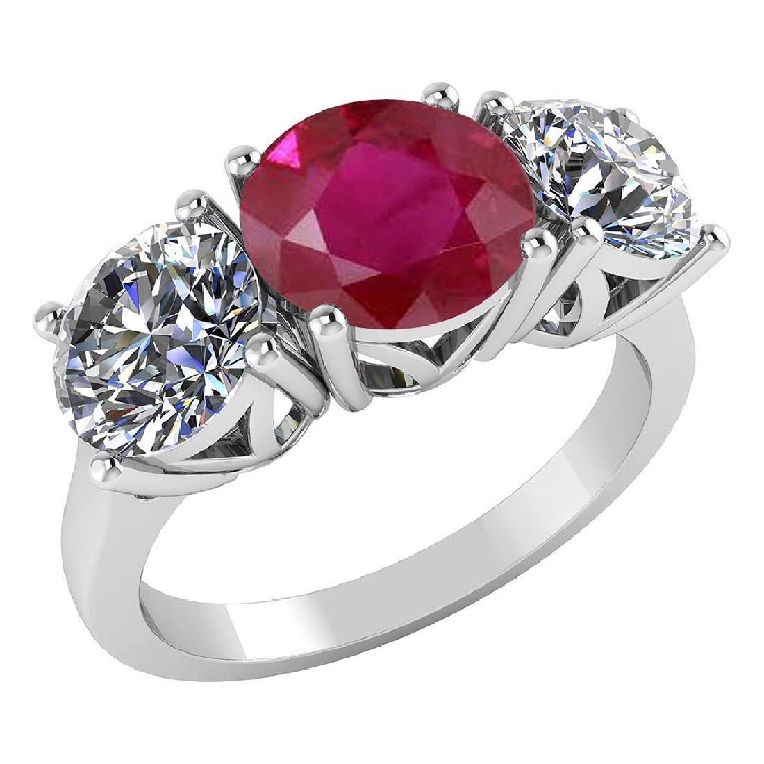Certified 1.60 CTW Genuine Ruby And Diamond 14K White G