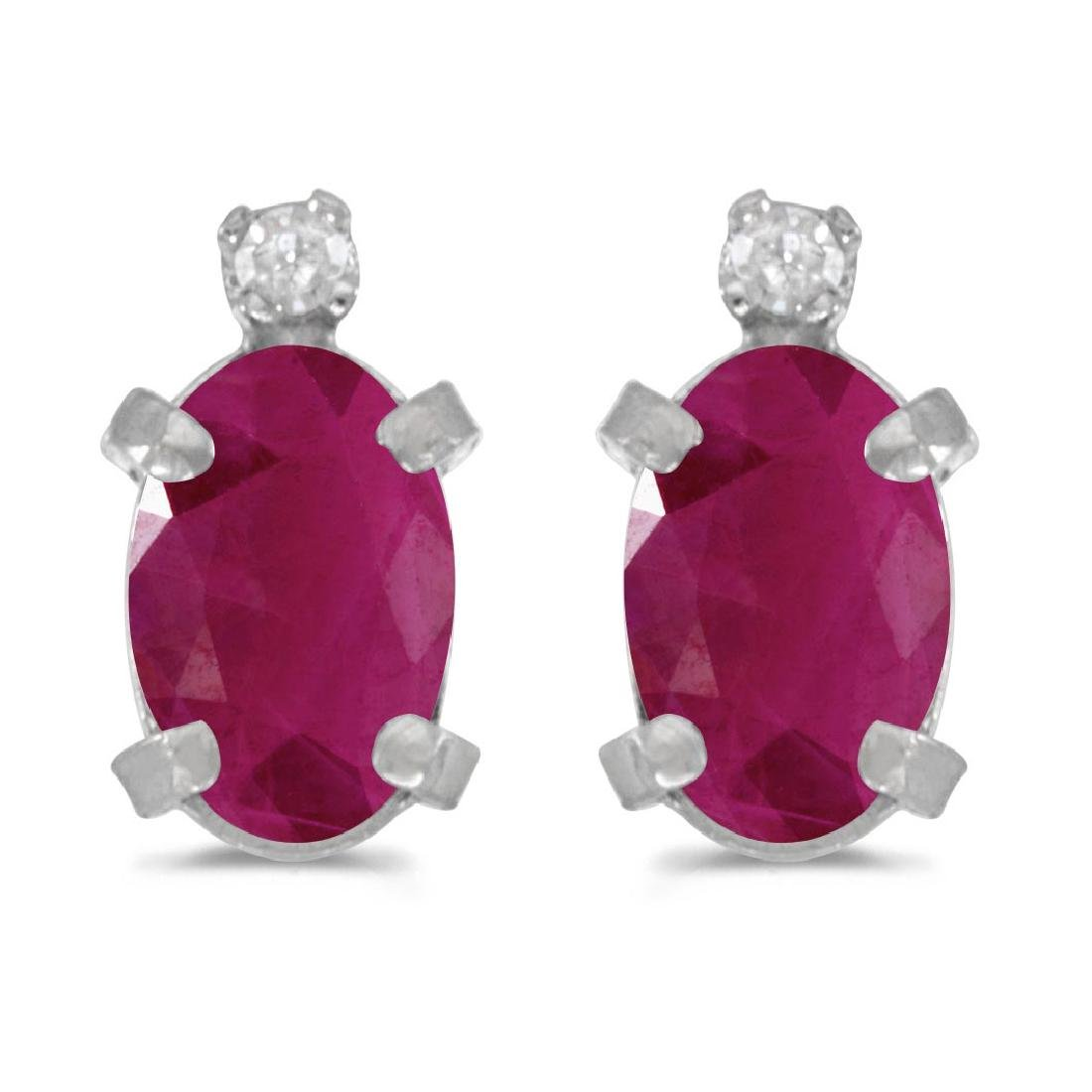 Certified Sterling Silver Oval Ruby and Diamond Earring