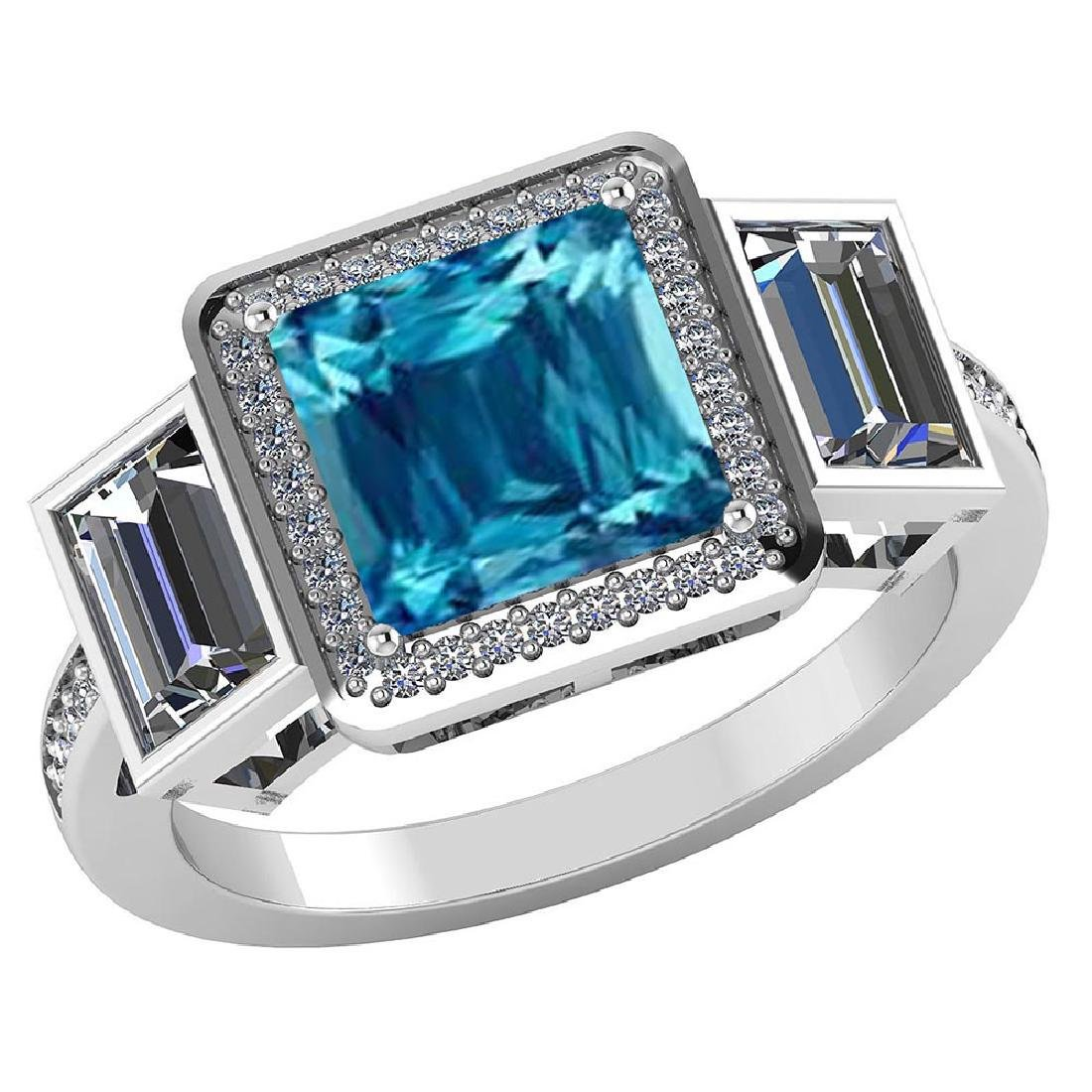 Certified 1.65 CTW Genuine Blue Topaz And Diamond 14K W