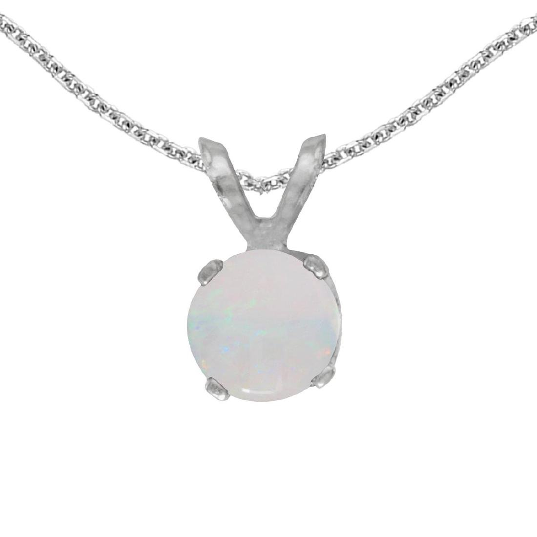 Certified 14k White Gold Round Opal Pendant 0.19 CTW