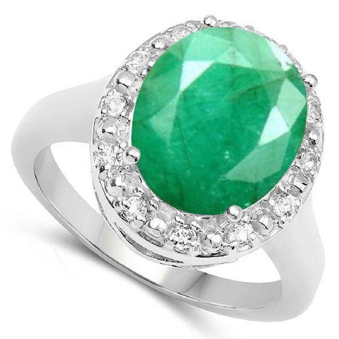 Certified 1.30 Ctw. Genuine Emerald And Diamond 14K Whi