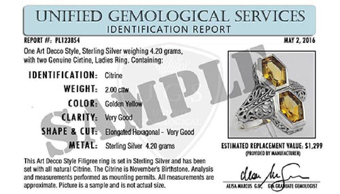 Certified 1.60 Ctw. Genuine Citrine And Diamond 14K Whi - 2