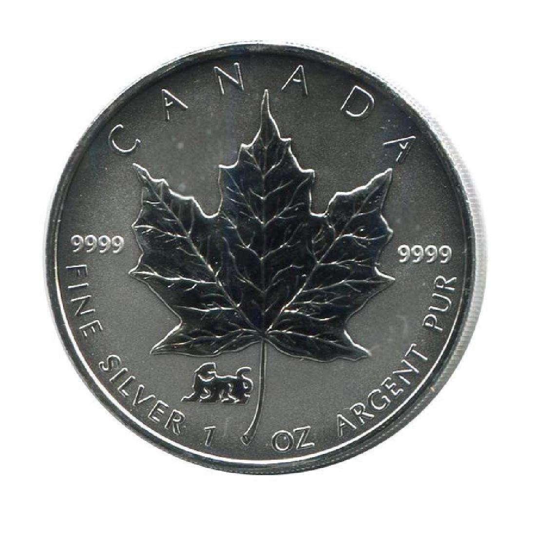 1998 Canada 1 oz. Silver Maple Leaf Reverse Proof Tiger