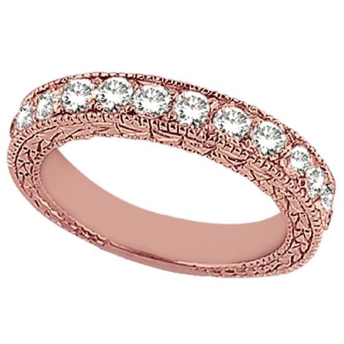 Antique Style Pave Set Wedding Ring Band 14k Rose Gold