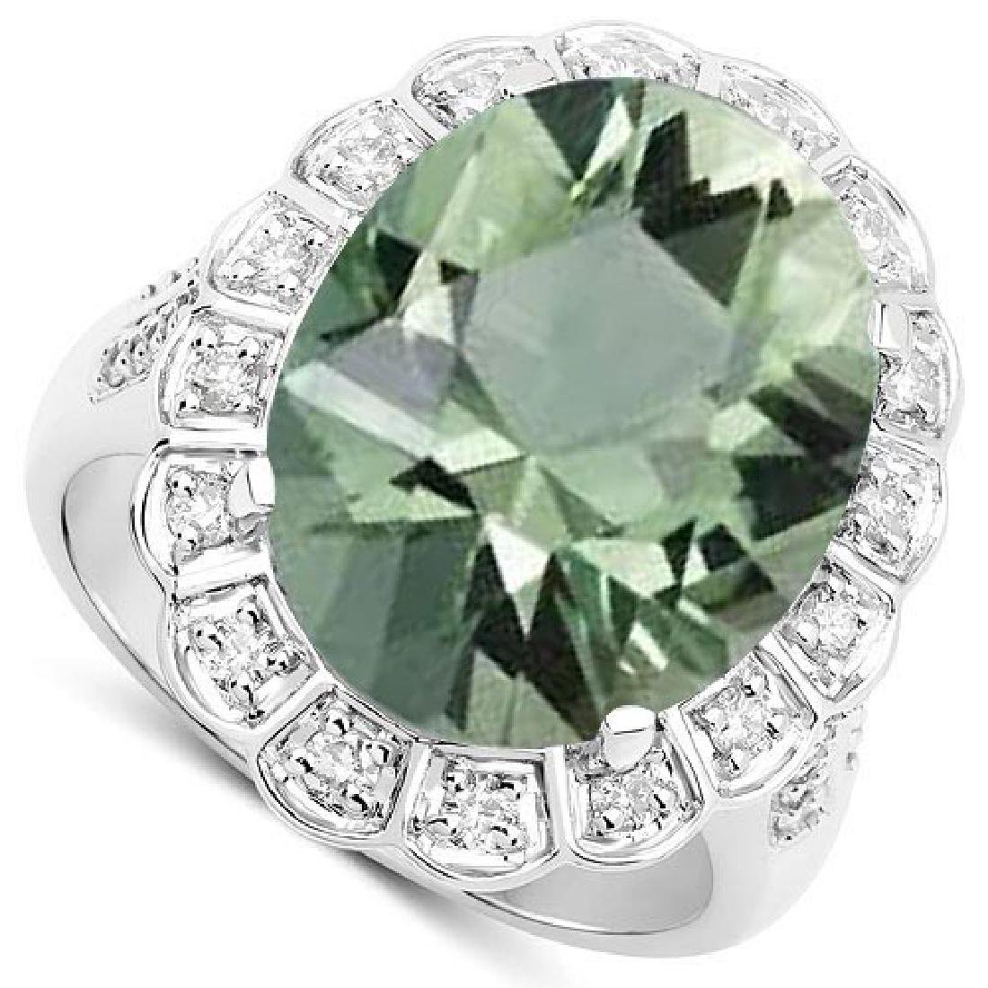 Certified 2.50 Ctw. Genuine Green Amethyst And Diamond