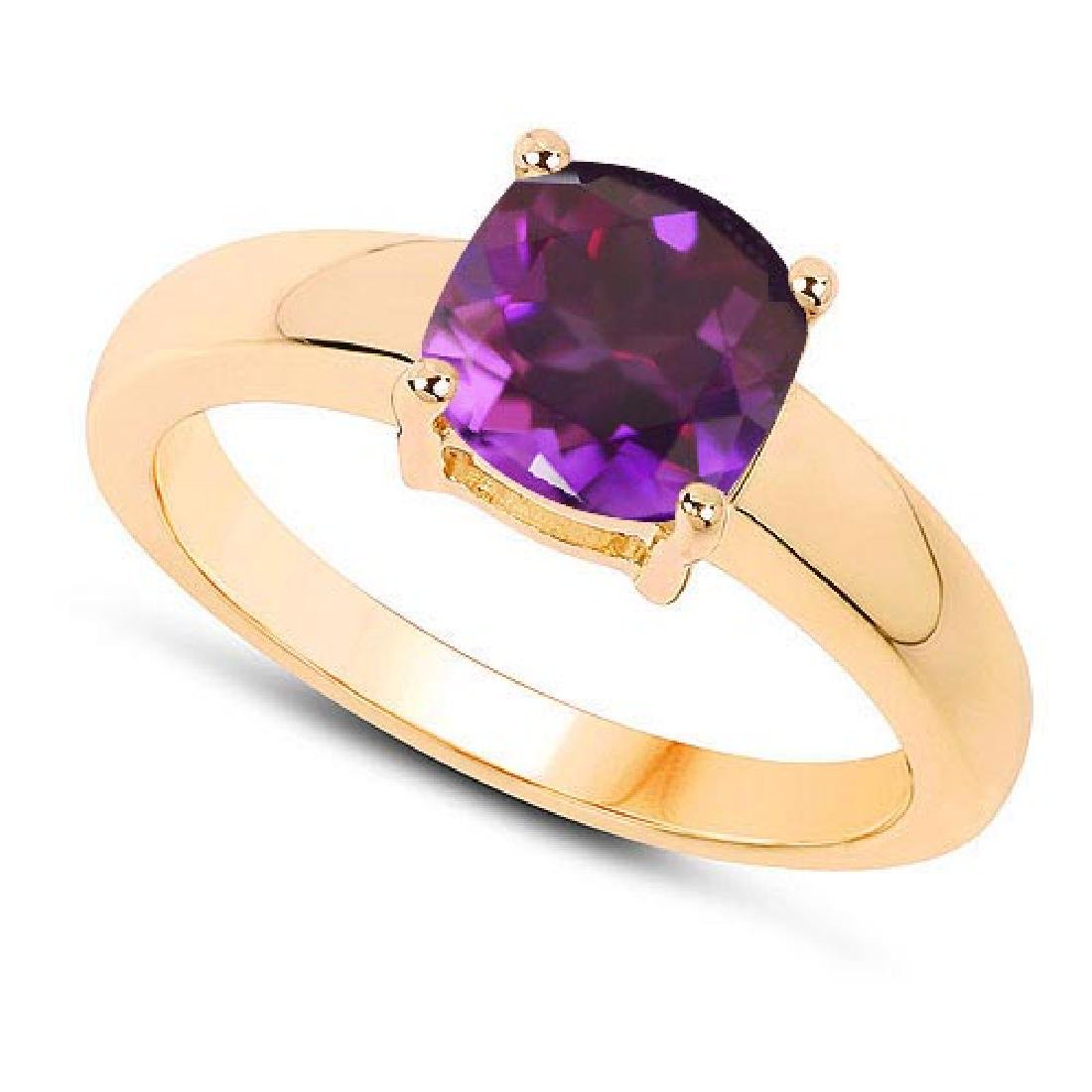 Certified 1.50 CTW Genuine Amethyst And 14K Yellow Gold