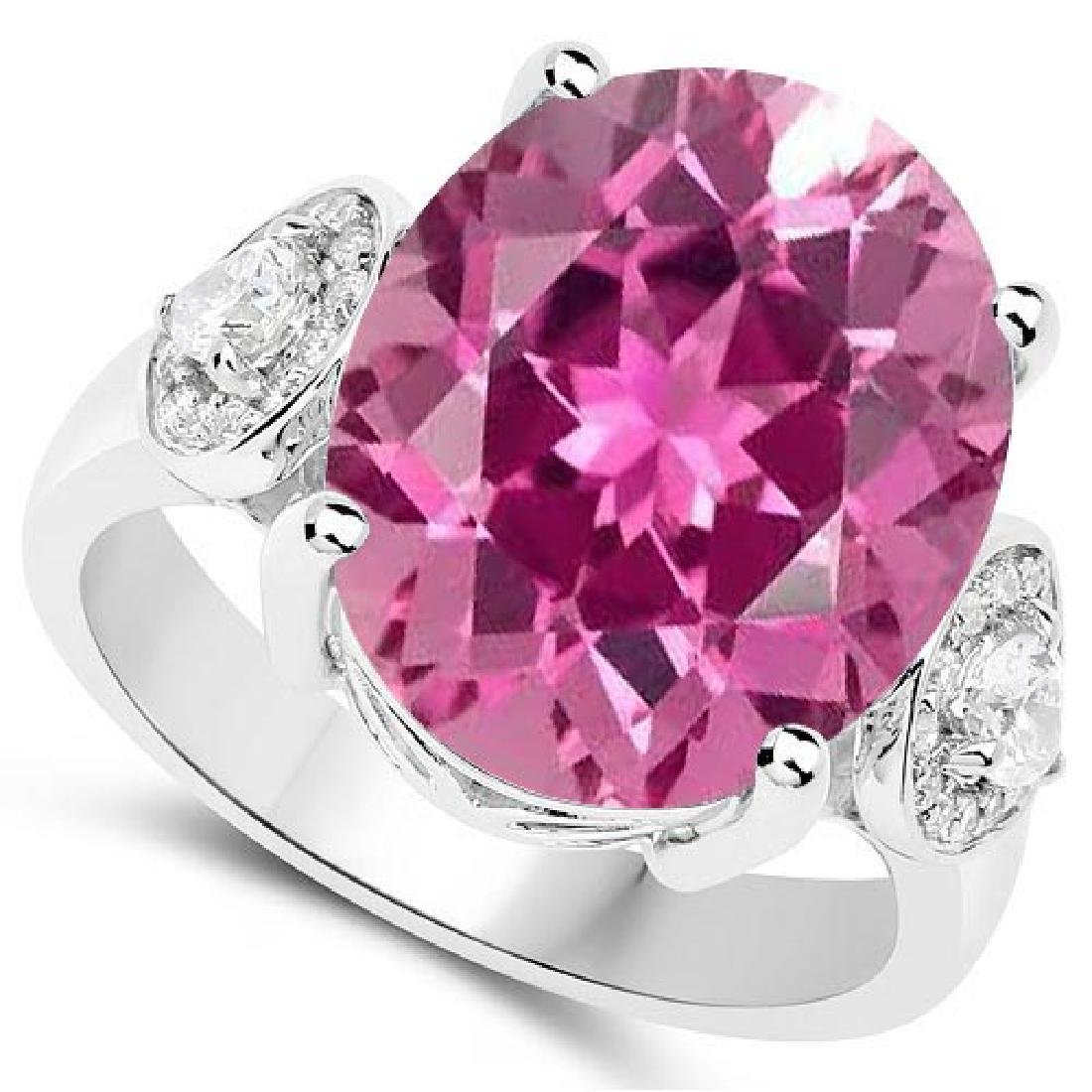 Certified 1.40 Ctw. Genuine Pink tourmaline And Diamond