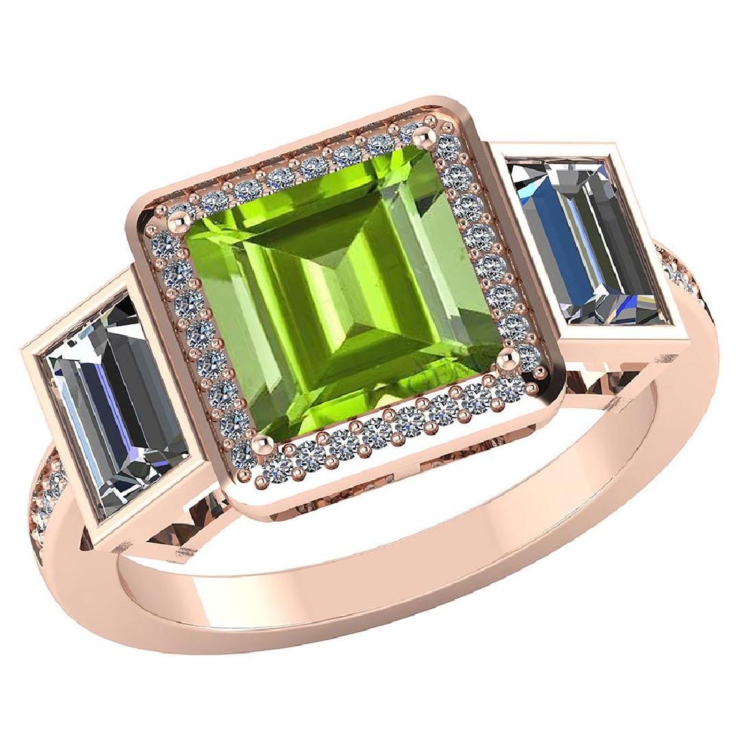 Certified 2.35 CTW Genuine Peridot And Diamond 14K Rose